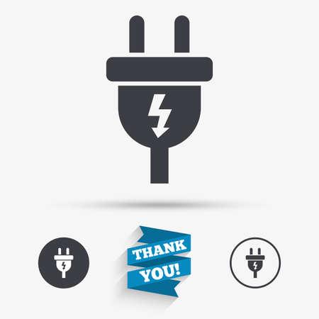 전기 플러그 기호 아이콘입니다. 전원 에너지 기호입니다. 번개 기호입니다. 플랫 아이콘. 아이콘 단추입니다. 리본 감사합니다. 벡터 일러스트
