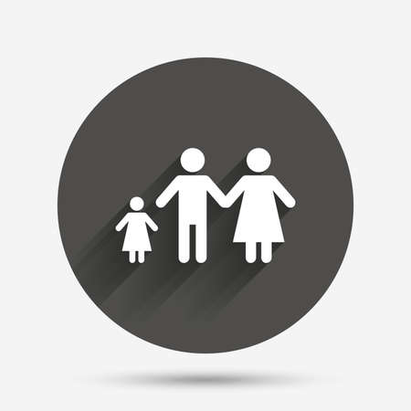 one child: Family with one child sign icon. Complete family symbol. Circle flat button with shadow. Vector Illustration