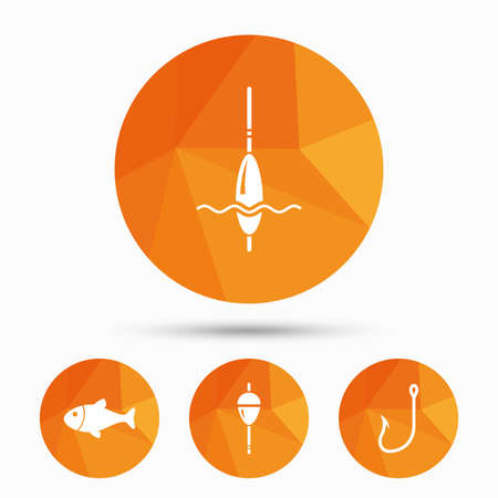 bobber: Fishing icons. Fish with fishermen hook sign. Float bobber symbol. Triangular low poly buttons with shadow. Vector