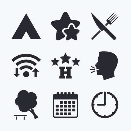 fork in the road: Food, hotel, camping tent and tree icons. Knife and fork. Break down tree. Road signs. Wifi internet, favorite stars, calendar and clock. Talking head. Vector