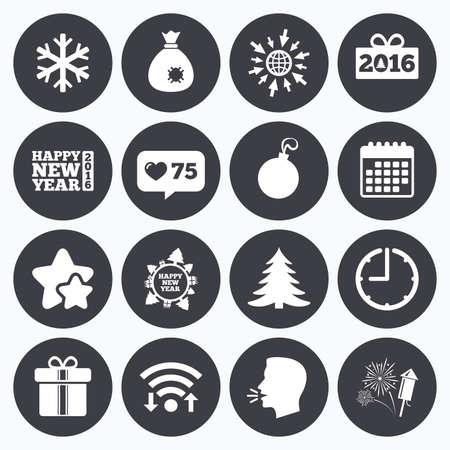 new year counter: Calendar, wifi and clock symbols. Like counter, stars symbols. Christmas, new year icons. Gift box, fireworks and snowflake signs. Santa bag, salut and decoration ball symbols. Talking head, go to web symbols. Vector