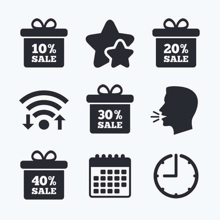 head tag: Sale gift box tag icons. Discount special offer symbols. 10%, 20%, 30% and 40% percent sale signs. Wifi internet, favorite stars, calendar and clock. Talking head. Vector