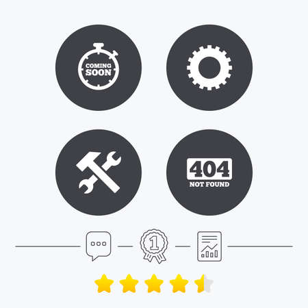 Coming soon icon. Repair service tool and gear symbols. Hammer with wrench signs. 404 Not found. Chat, award medal and report linear icons. Star vote ranking. Vector
