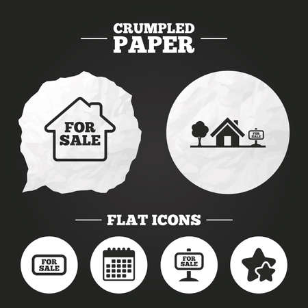 house for sale: Crumpled paper speech bubble. For sale icons. Real estate selling signs. Home house symbol. Paper button. Vector