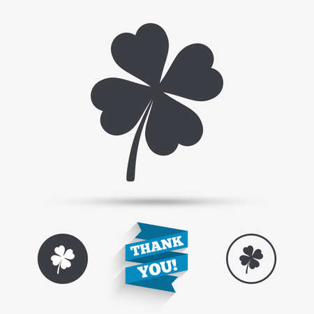 clover buttons: Clover with four leaves sign icon. Saint Patrick symbol. Flat icons. Buttons with icons. Thank you ribbon. Vector Illustration
