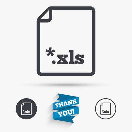 excel: Excel file document icon. Download xls button. XLS file extension symbol. Flat icons. Buttons with icons. Thank you ribbon. Vector