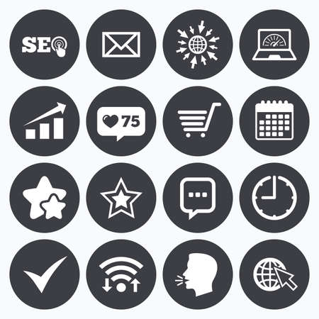 bandwidth: Calendar, wifi and clock symbols. Like counter, stars symbols. Internet, seo icons. Tick, online shopping and chart signs. Bandwidth, mobile device and chat symbols. Talking head, go to web symbols. Vector