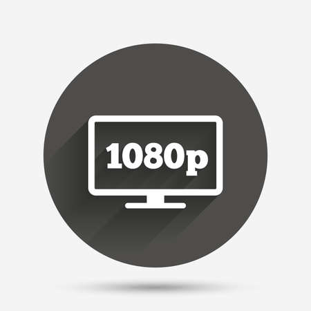 Full hd widescreen tv sign icon. 1080p symbol. Circle flat button with shadow. Vector