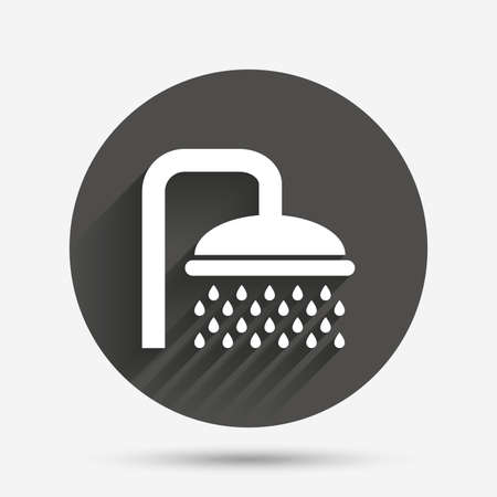 douche: Shower sign icon. Douche with water drops symbol. Circle flat button with shadow. Vector