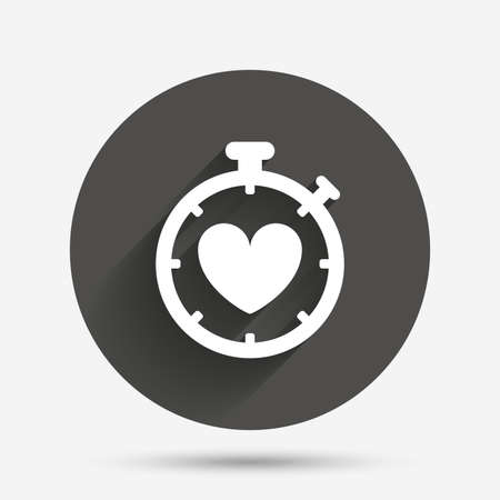 palpitation: Heart Timer sign icon. Stopwatch symbol. Heartbeat palpitation. Circle flat button with shadow. Vector Illustration