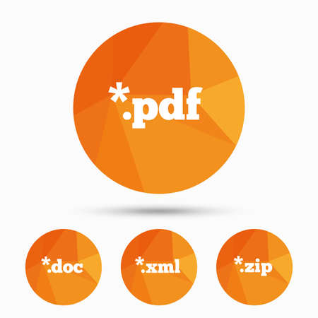 Document icons. File extensions symbols. PDF, ZIP zipped, XML and DOC signs. Triangular low poly buttons with shadow. Vector Illustration