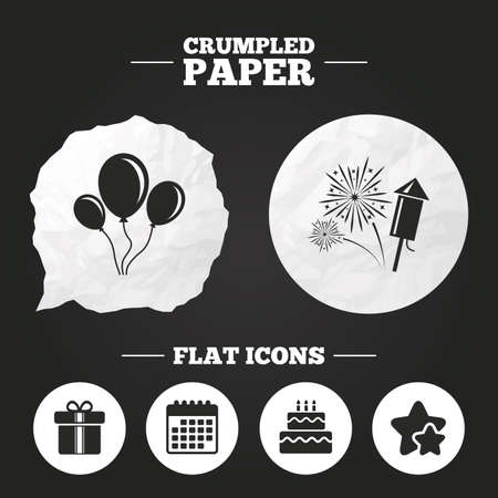 burning paper: Crumpled paper speech bubble. Birthday party icons. Cake and gift box signs. Air balloons and fireworks symbol. Paper button. Vector