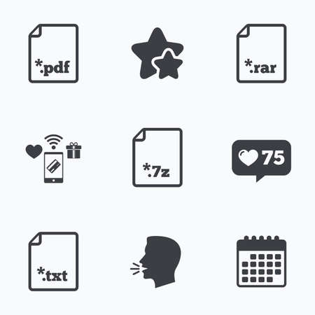 txt: Download document icons. File extensions symbols. PDF, RAR, 7z and TXT signs. Flat talking head, calendar icons. Stars, like counter icons. Vector
