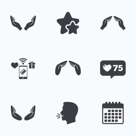 head protection: Hands icons. Insurance protection signs. Human helping donation hands. Prayer meditation hands sybmols. Flat talking head, calendar icons. Stars, like counter icons. Vector
