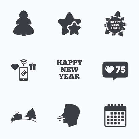 new year counter: Happy new year icon. Christmas trees signs. World globe symbol. Flat talking head, calendar icons. Stars, like counter icons. Vector