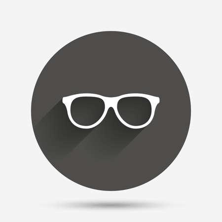 eyeglass: Retro glasses sign icon. Eyeglass frame symbol. Circle flat button with shadow. Vector Illustration