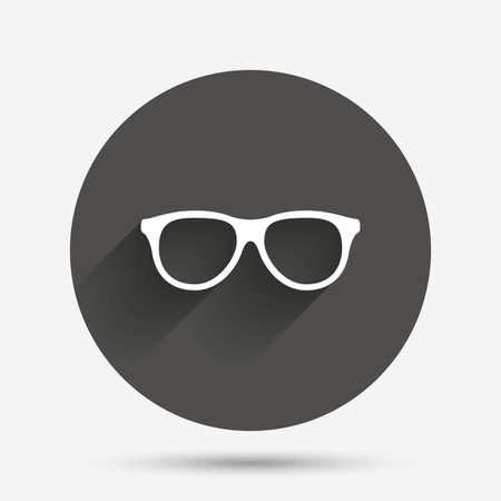 eyeglass frame: Retro glasses sign icon. Eyeglass frame symbol. Circle flat button with shadow. Vector Illustration