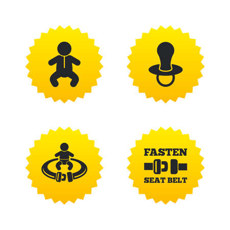 fasten: Baby infants icons. Toddler boy with diapers symbol. Fasten seat belt signs. Child pacifier and pram stroller. Yellow stars labels with flat icons. Vector Illustration