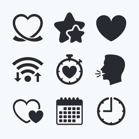 palpitation: Heart ribbon icon. Timer stopwatch symbol. Love and Heartbeat palpitation signs. Wifi internet, favorite stars, calendar and clock. Talking head. Vector Illustration