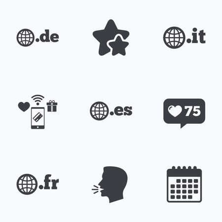 vector es: Top-level internet domain icons. De, It, Es and Fr symbols with globe. Unique national DNS names. Flat talking head, calendar icons. Stars, like counter icons. Vector
