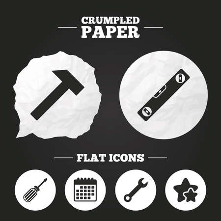 bubble level: Crumpled paper speech bubble. Screwdriver and wrench key tool icons. Bubble level and hammer sign symbols. Paper button. Vector Illustration