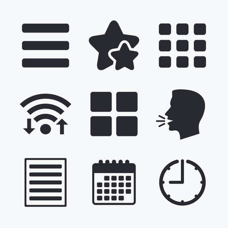 thumbnails: List menu icons. Content view options symbols. Thumbnails grid or Gallery view. Wifi internet, favorite stars, calendar and clock. Talking head. Vector