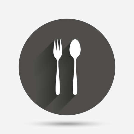 teaspoon: Eat sign icon. Cutlery symbol. Dessert fork and teaspoon. Circle flat button with shadow. Vector Illustration