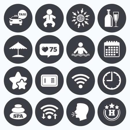 counter service: Calendar, wifi and clock symbols. Like counter, stars symbols. Hotel, apartment service icons. Spa, swimming pool signs. Alcohol drinks, wifi internet and safe symbols. Talking head, go to web symbols. Vector