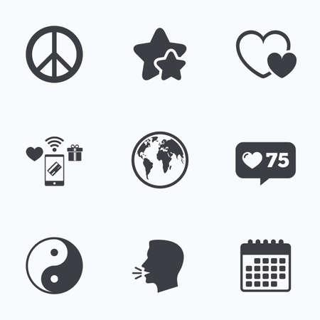 zen like: World globe icon. Ying yang sign. Hearts love sign. Peace hope. Harmony and balance symbol. Flat talking head, calendar icons. Stars, like counter icons. Vector
