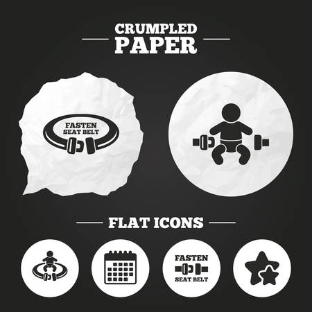safety belt: Crumpled paper speech bubble. Fasten seat belt icons. Child safety in accident symbols. Vehicle safety belt signs. Paper button. Vector