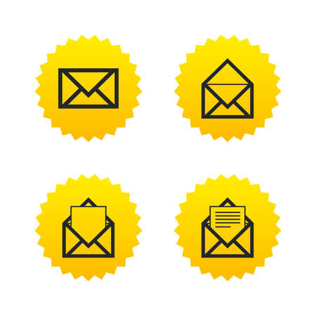 Mail envelope icons. Message document symbols. Post office letter signs. Yellow stars labels with flat icons. Vector