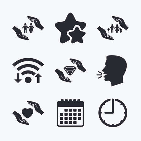 couple talking: Hands insurance icons. Couple and family life insurance symbols. Heart health sign. Diamond jewelry symbol. Wifi internet, favorite stars, calendar and clock. Talking head. Vector Illustration