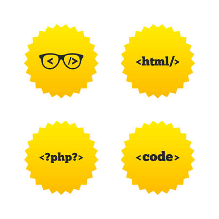 coder: Programmer coder glasses icon. HTML markup language and PHP programming language sign symbols. Yellow stars labels with flat icons. Vector