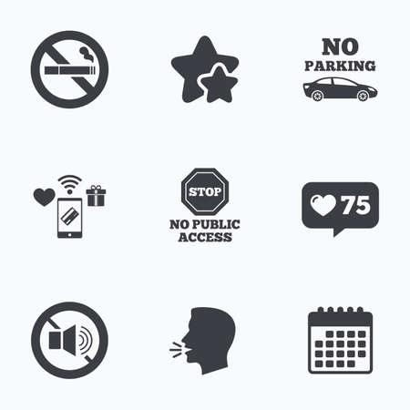 private access: Stop smoking and no sound signs. Private territory parking or public access. Cigarette symbol. Speaker volume. Flat talking head, calendar icons. Stars, like counter icons. Vector