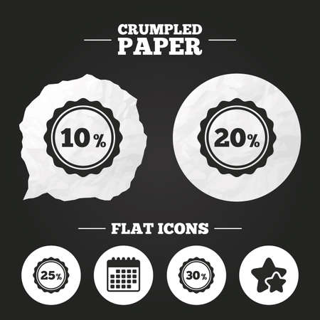 20 25: Crumpled paper speech bubble. Sale discount icons. Special offer stamp price signs. 10, 20, 25 and 30 percent off reduction symbols. Paper button. Vector Illustration