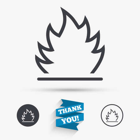 fire escape: Fire flame sign icon. Heat symbol. Stop fire. Escape from fire. Flat icons. Buttons with icons. Thank you ribbon. Vector