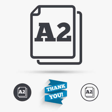 a2: Paper size A2 standard icon. File document symbol. Flat icons. Buttons with icons. Thank you ribbon. Vector