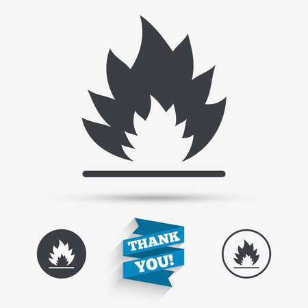 escape: Fire flame sign icon. Heat symbol. Stop fire. Escape from fire. Flat icons. Buttons with icons. Thank you ribbon. Vector