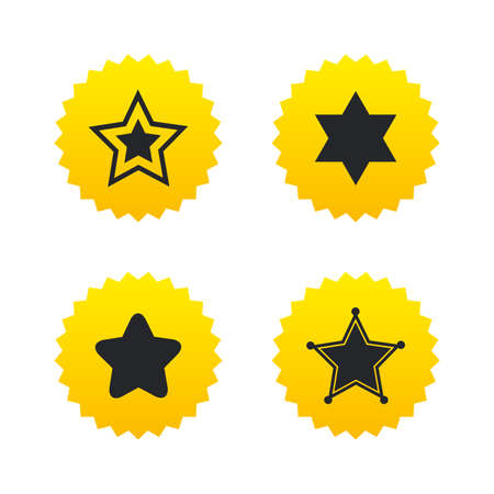 zion: Star of David icons. Sheriff police sign. Symbol of Israel. Yellow stars labels with flat icons. Vector Illustration