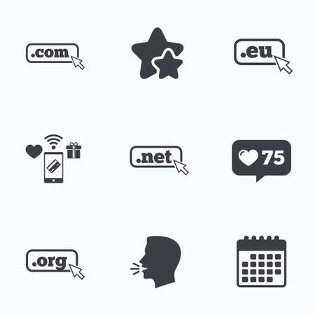 dns: Top-level internet domain icons. Com, Eu, Net and Org symbols with cursor pointer. Unique DNS names. Flat talking head, calendar icons. Stars, like counter icons. Vector