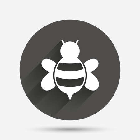 pollinating: Bee sign icon. Honeybee or apis with wings symbol. Flying insect. Circle flat button with shadow. Vector