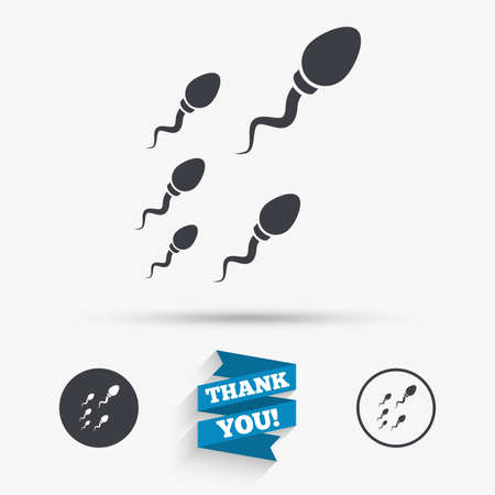 Sperm sign icon. Fertilization or insemination symbol. Race. Flat icons. Buttons with icons. Thank you ribbon. Vector