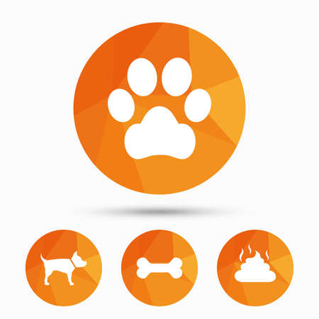 turd: Pets icons. Dog paw and feces signs. Clean up after pets. Pets food. Triangular low poly buttons with shadow. Vector