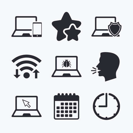 head protection: Notebook laptop pc icons. Virus or software bug signs. Shield protection symbol. Mouse cursor pointer. Wifi internet, favorite stars, calendar and clock. Talking head. Vector Illustration