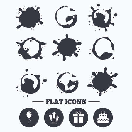 smudges: Paint, coffee or milk splash blots. Birthday party icons. Cake and gift box signs. Air balloons and fireworks rockets symbol. Smudges splashes drops. Vector Illustration
