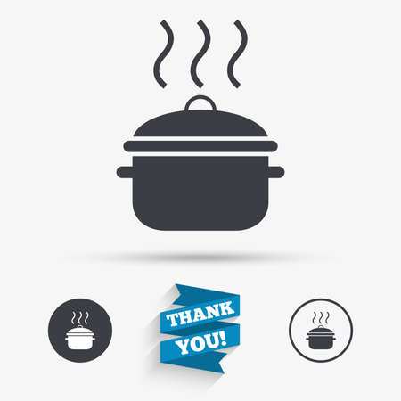 boil: Cooking pan sign icon. Boil or stew food symbol. Flat icons. Buttons with icons. Thank you ribbon. Vector