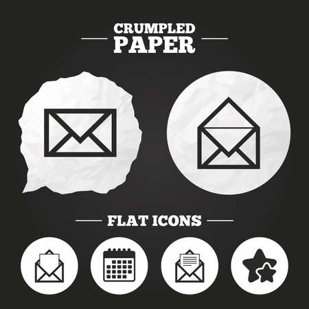 webmail: Crumpled paper speech bubble. Mail envelope icons. Message document symbols. Post office letter signs. Paper button. Vector Illustration