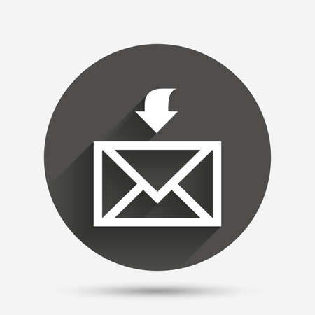 receive: Mail receive icon. Envelope symbol. Get message sign. Mail navigation button. Circle flat button with shadow. Vector