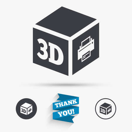 additive manufacturing: 3D Print sign icon. 3d cube Printing symbol. Additive manufacturing. Flat icons. Buttons with icons. Thank you ribbon. Vector Illustration