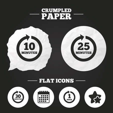 25 30: Crumpled paper speech bubble. Every 10, 25, 30 minutes and 1 hour icons. Full rotation arrow symbols. Iterative process signs. Paper button. Vector